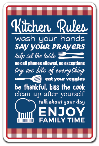 KITCHEN RULES Novelty Sign Kitchen Home Rules Family Food Clean Cook Gift
