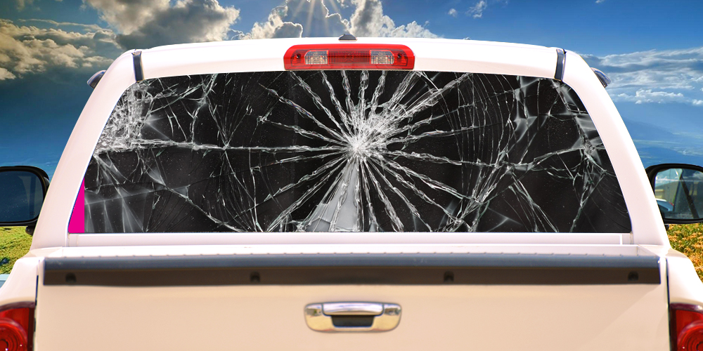 SHATTERED Rear Window Graphic Back Truck Decal Suv View Thru Vinyl - Truck decals for back window