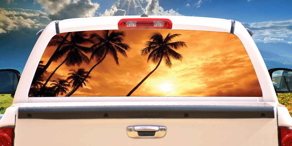 Sunset Rear Window Graphic Back Truck Decal Suv View Thru