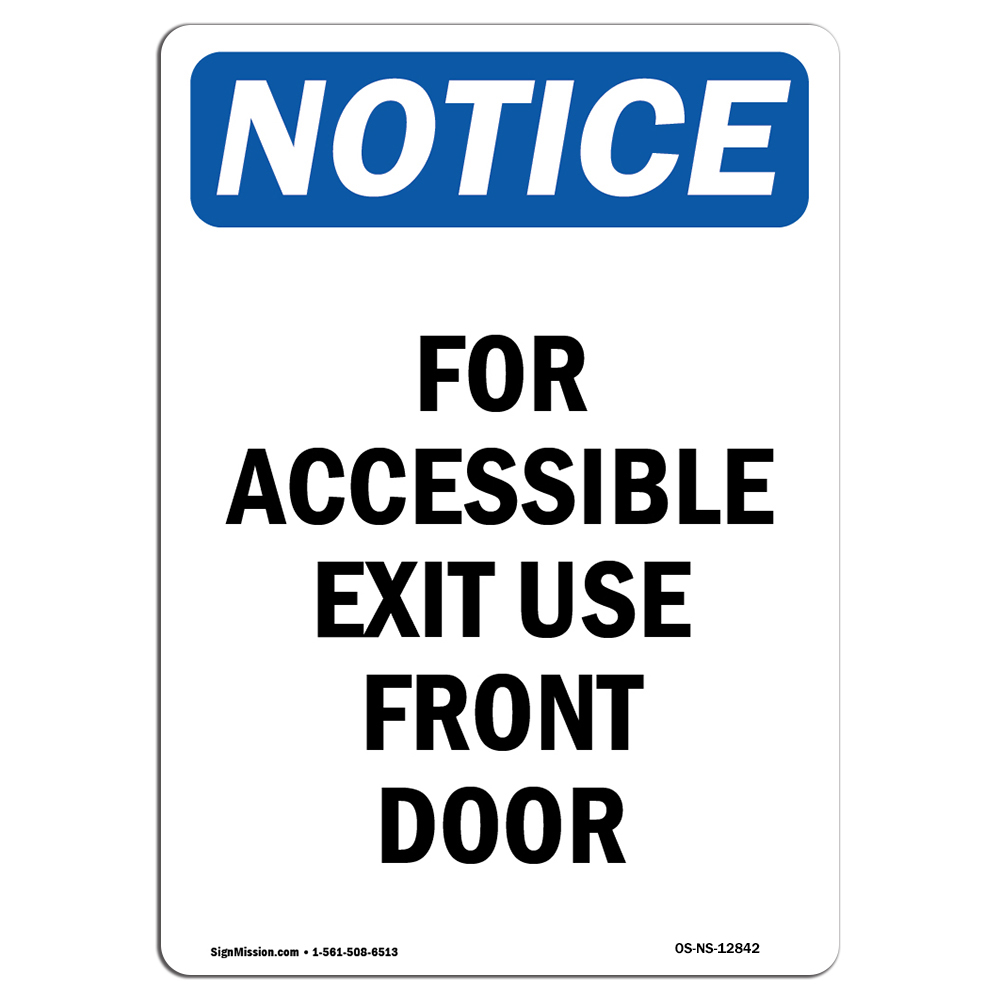 OSHA Notice Not An Entrance Door Blocked SignHeavy Duty Sign or Label