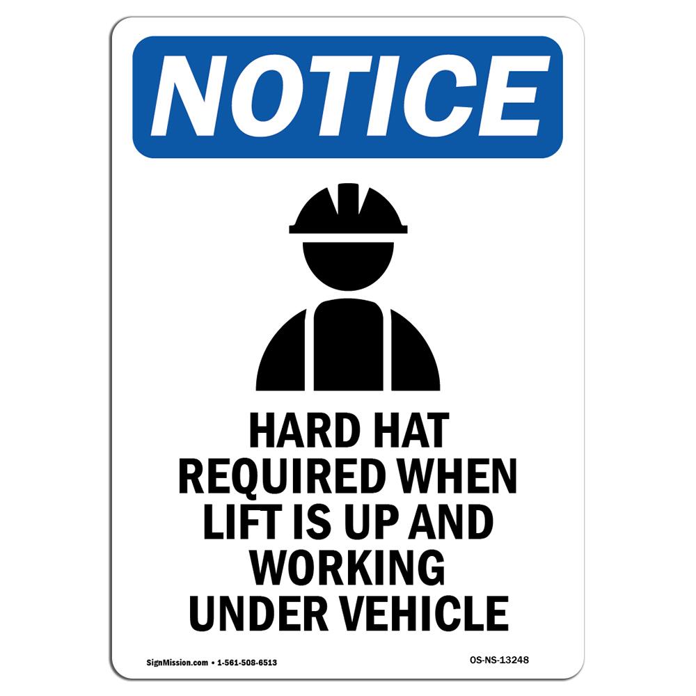 OSHA Notice - Hard Hat Required Sign With Symbol | Heavy Dut
