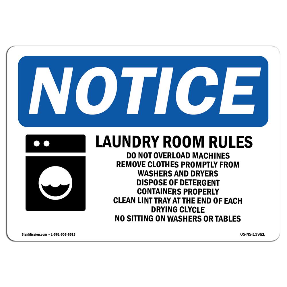 Laundry Rules Empty Your Pockets Sign With SymbolHeavy Duty OSHA Notice