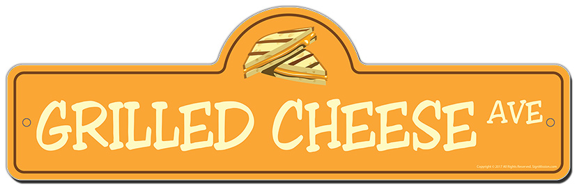 Grilled Cheese Street Sign Funny Home Decor Garage Wall Lover Plastic Gift